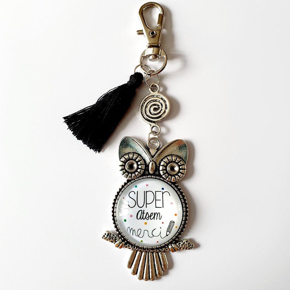 Porte-clef SUPER ATSEM MERCI hibou chouette pompon noir Idée cadeau fin d'année scolaire remerciements