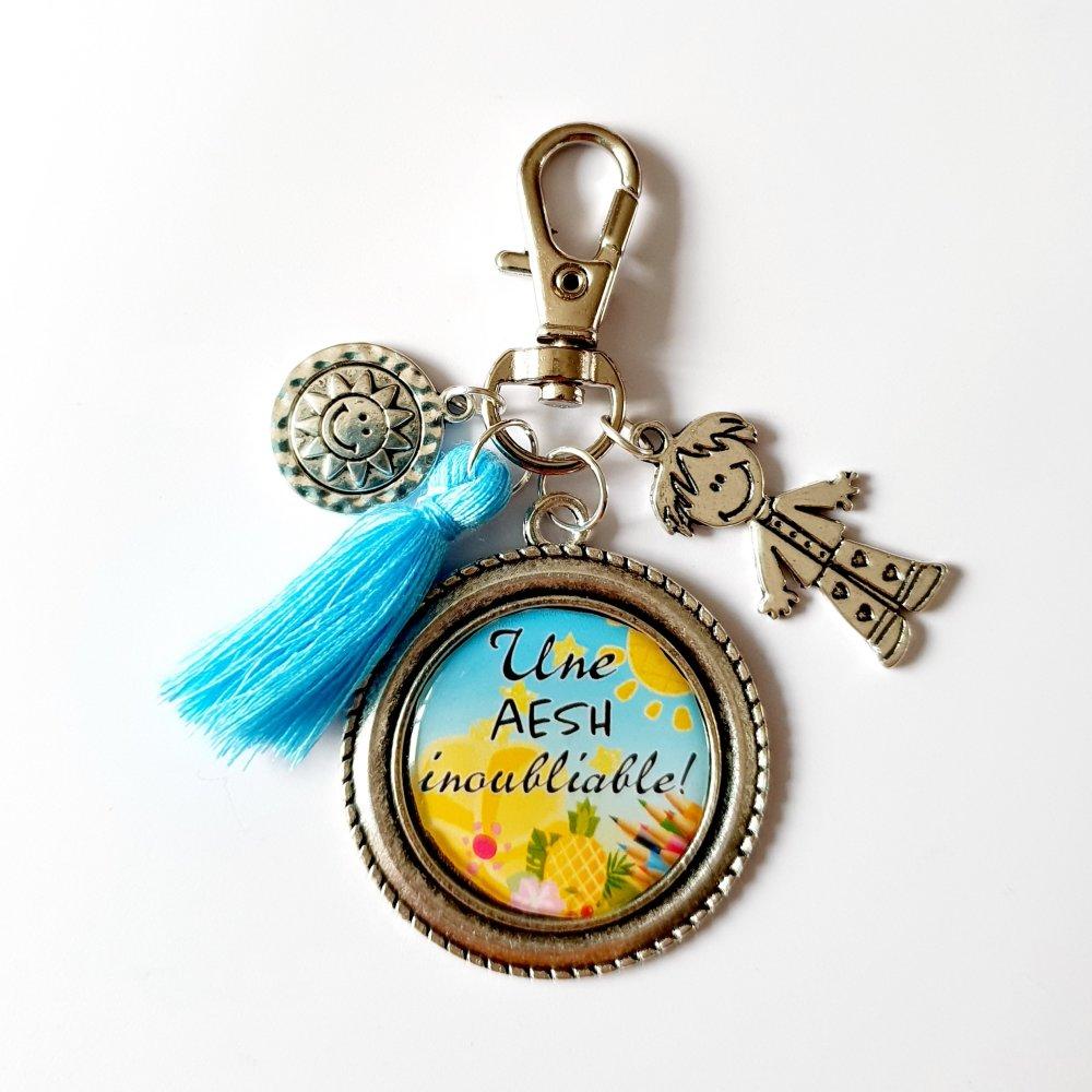 Porte-clef AESH breloque garçon, soleil et pompon Idée cadeau fin d'année REMERCIEMENTS
