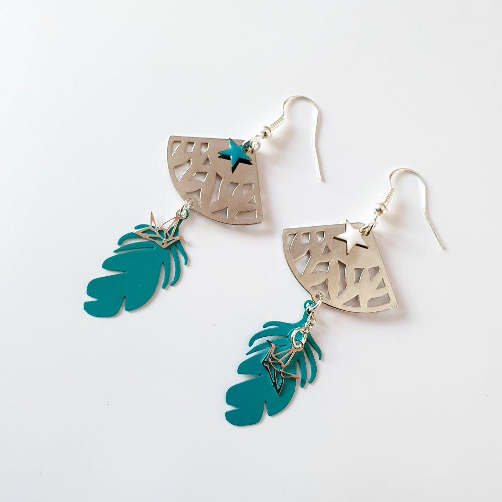Boucles d'oreilles plume colibri étoile éventail argenté bleu canard vert - idée cadeau fête des mères femme anniversaire