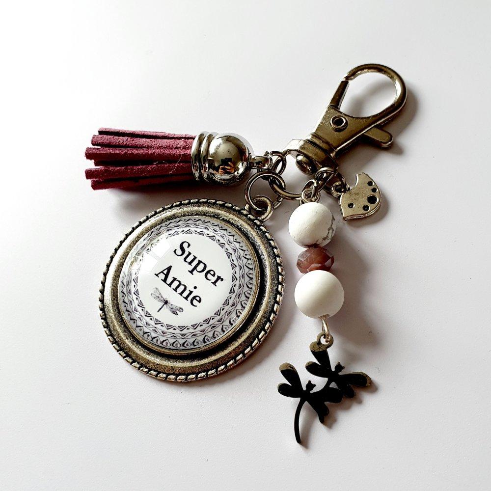 Porte-clef SUPER AMIE libellule violet /  Idée cadeau chance fête anniversaire emménagement amitié