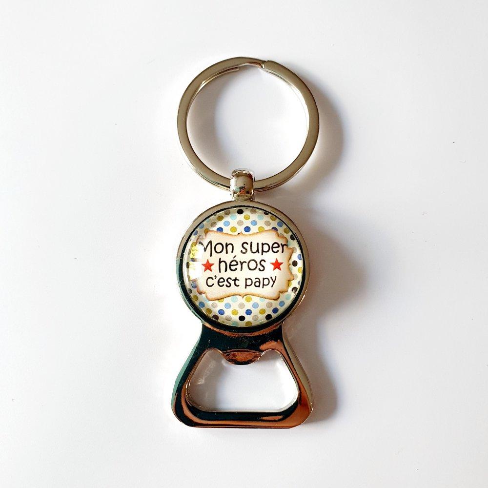 Porte-clef décapsuleur PAPY héros idée cadeau papi grand-père anniversaire fête