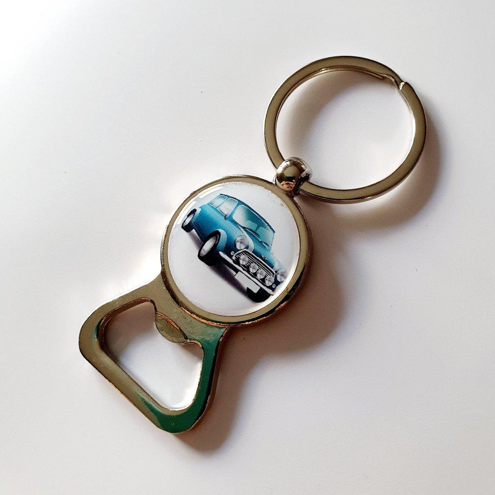 Porte-clef décapsuleur voiture mini idée cadeau papi grand-père anniversaire fête