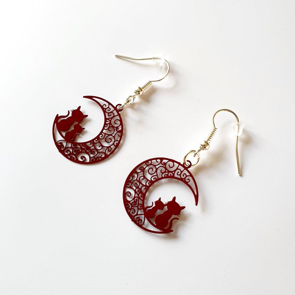 Boucles d'oreilles lune prune et chat estampe idée cadeau anniversaire femme