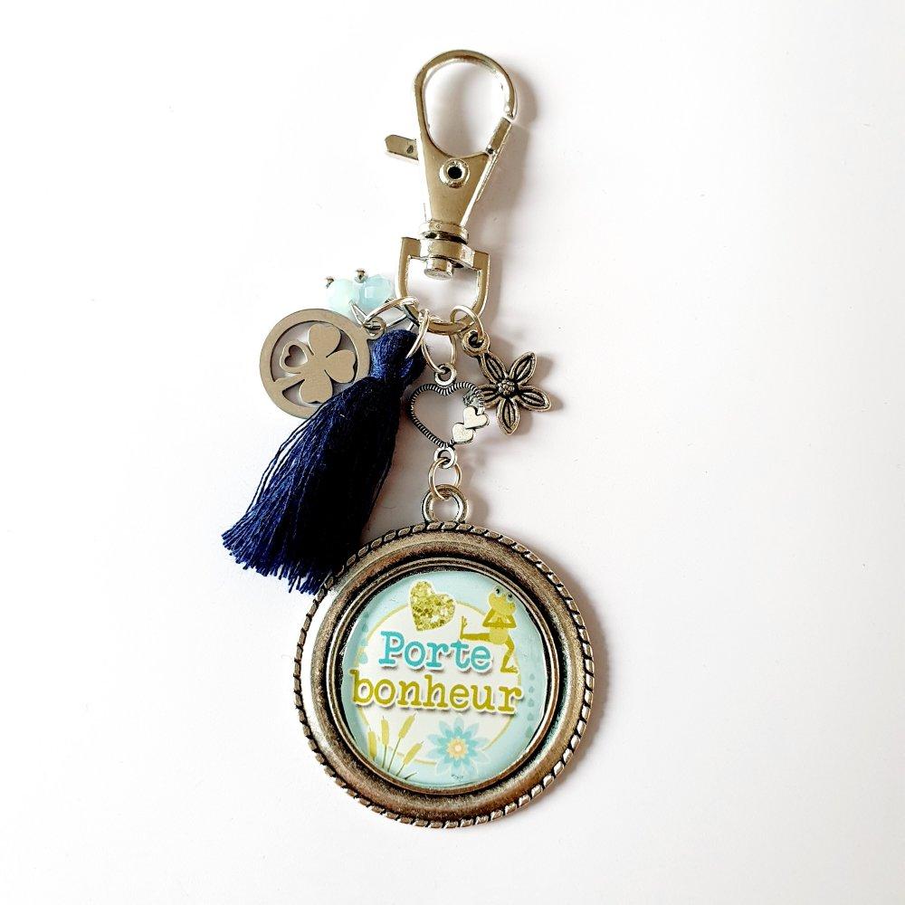 Porte-clef PORTE BONHEUR trèfle à quatre feuilles pompon bleu / chance