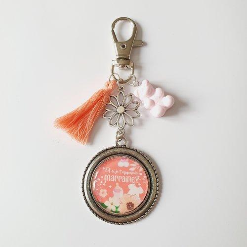 Porte-clef future marraine ourson rose et si je t'appelais marraine  /  idée cadeau annonce