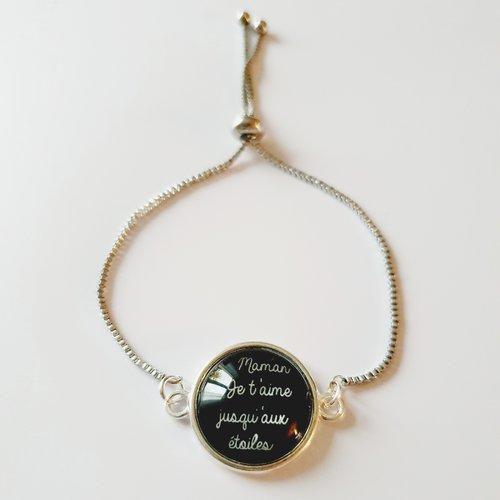 Bracelet maman je t'aime jusqu'aux étoiles réglable acier inoxydable - cabochon