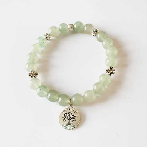 Bracelet femme relaxation aventurine perles naturelles, de gemmes arbre de vie