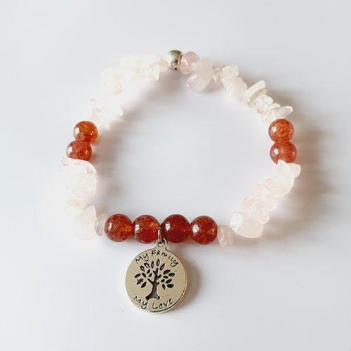 Bracelet femme paix intérieure apaisement quartz rose perles naturelles, de gemmes arbre de vie