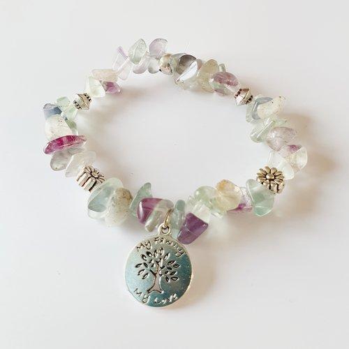 Bracelet femme concentration créativité fluorite perles naturelles, de gemmes arbre de vie