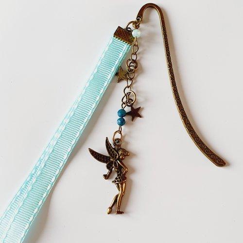 Petit marque-page fée bronze ruban bleu clair étoile idée cadeau anniversaire fête noël maman