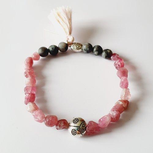 Bracelet femme sérénité équilibre quartz rouge ( fraise ) jaspe picasso gris coccinelle perles naturelles, de gemmes