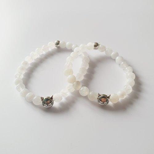 Duo mere fille  bracelets perles naturelles pierre de lune chat -  elastique - idée cadeau fête des mères anniversaire