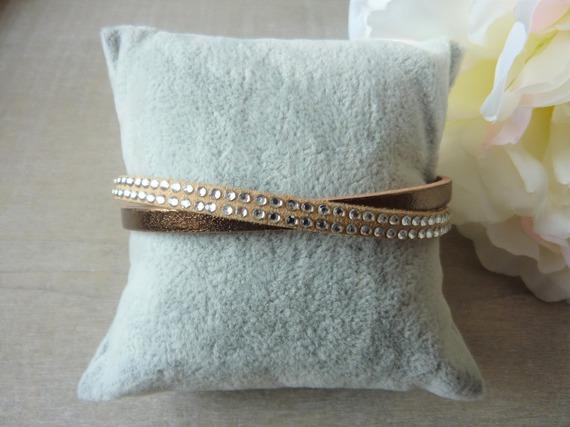 Bracelet femme cuir bronze et suédine beige strass - fermoir aimanté - mesure personnalisable