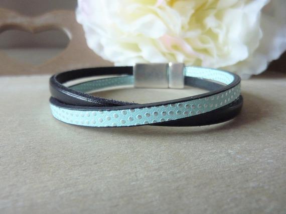 Bracelet cuir femme noir et simili cuir argenté, bleu ciel à pois - fermoir aimanté - mesure personnalisable
