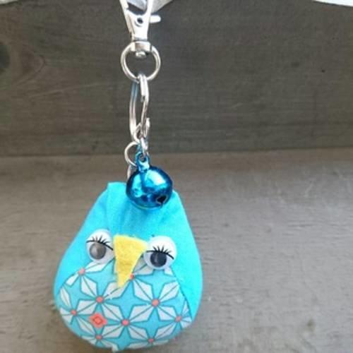 """Petit porte-clés / bijoux de sac """"collection acidulée"""" hibou orange et turquoise"""