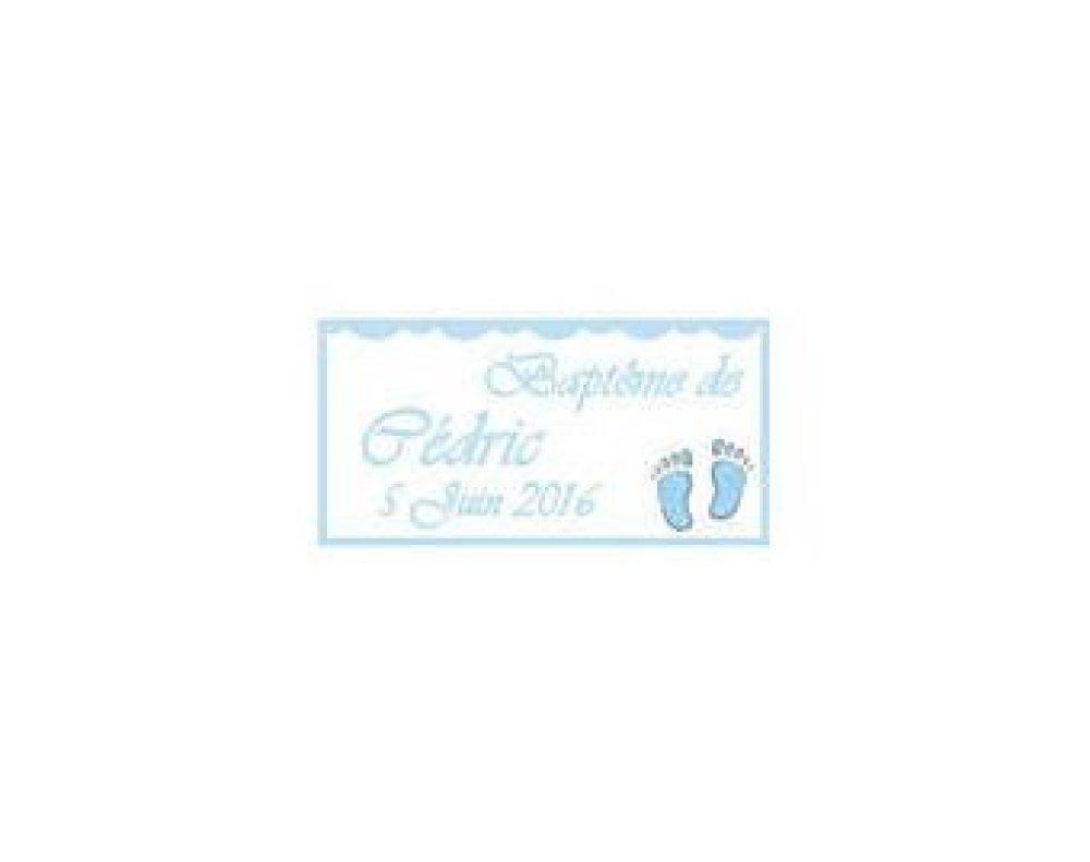 Etiquettes dragées baptême/naissance empreinte pied bleu