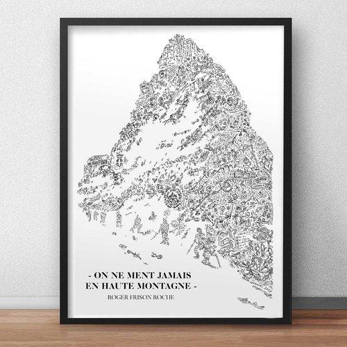 """Citation illustrée de roger frison roche - """"on ne ment jamais en haute montagne"""" illustration noir et blanc pleine de details"""