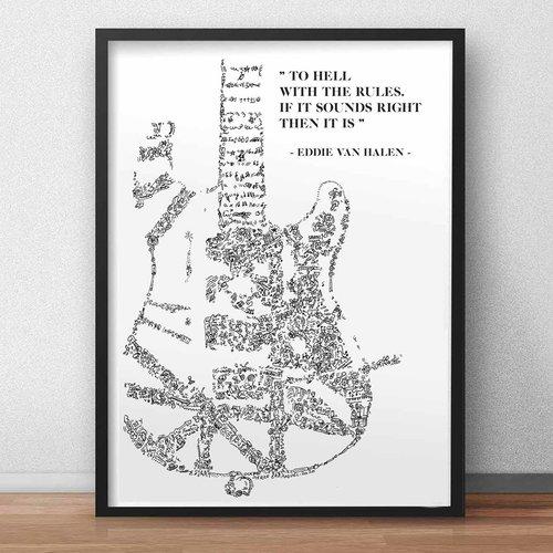 La frankenstrat illustrée et la citation de eddie van halen - a3 - illustration noir et blanc pleine de details.