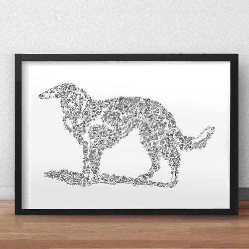 Le barzoi - a3 - illustration noir et blanc pleine de details du chien de race levrier russe