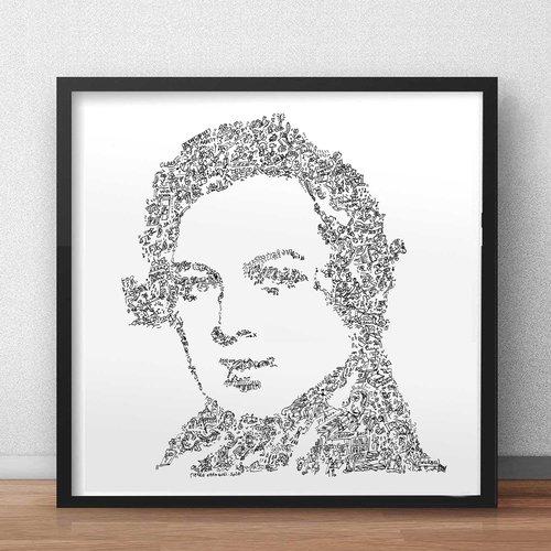 Robert schumann - 30 x 30cm - portrait noir et blanc du compositeur et pianiste allemand romantisme