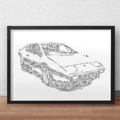 La lotus esprit s1 de james bond - a3 - illustration noir et blanc pleine de details de la voiture de l espion qui m aimait