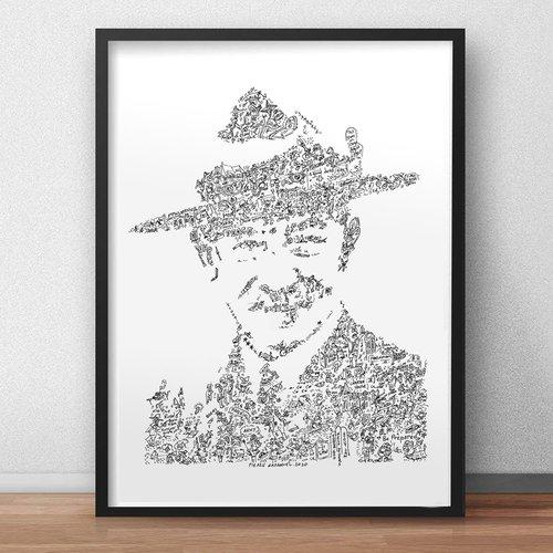 Baden powell - a3 - dessin d'art en noir et blanc. biographie et details du fondateur du scoutisme et mouvement scout