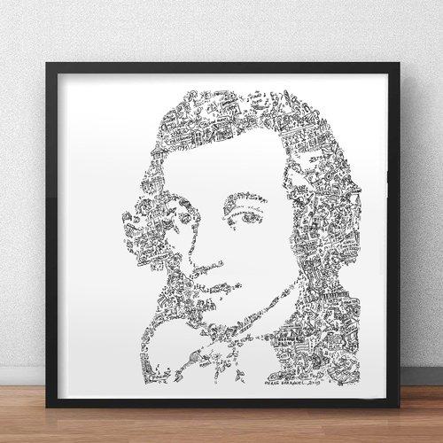 Ignace pleyel - 30 x 30cm - portrait noir et blanc du compositeur pianiste et facteur de piano autrichien