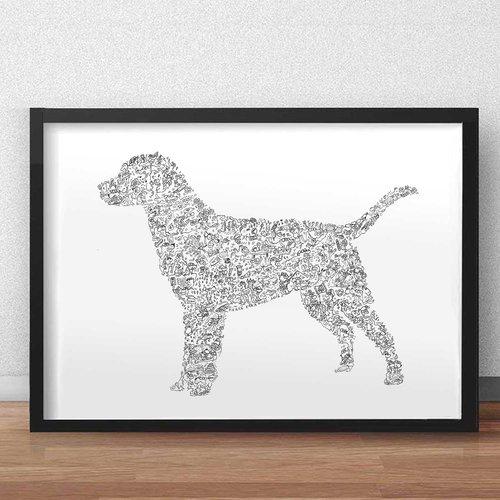 Le labrador retriever- a3 - illustration noir et blanc pleine de details du chien de race canadienne lab