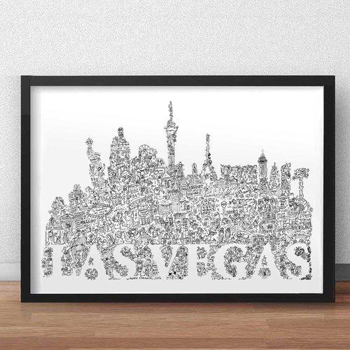 Las vegas - a3 - illustration noir et blanc pleine de details de la ville du vice dans le nevada