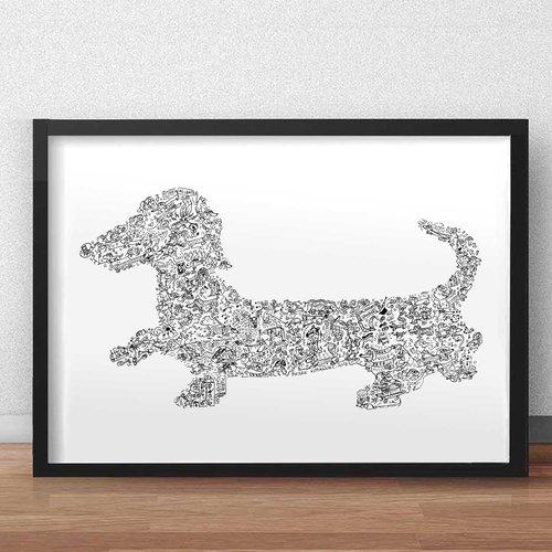 Le teckel a poils court - a3 - illustration noir et blanc pleine de details du chien allemand hot dog dachshund