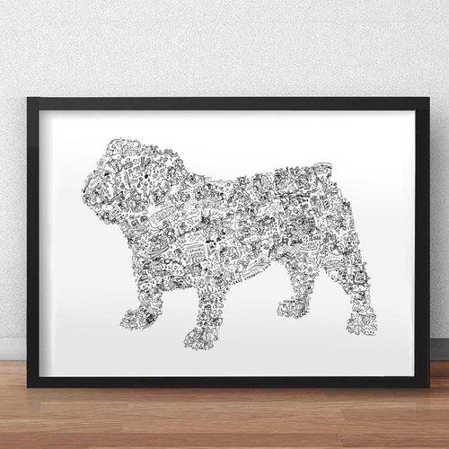 Le bulldog anglais - a3 - illustration noir et blanc pleine de details du chien baiting bulldog