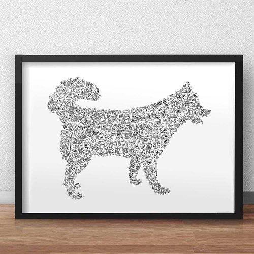 Le husky de sibérie  - a3 - illustration noir et blanc pleine de details du chien traineau froid yeux bleus