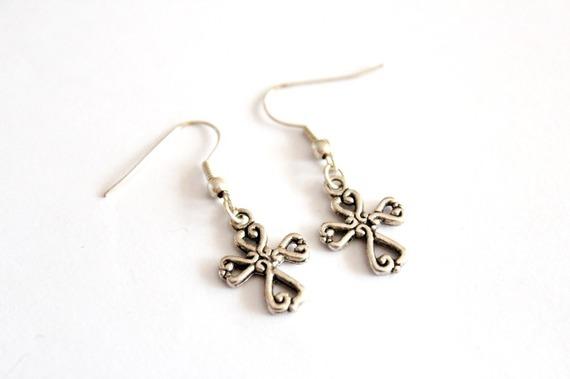 Boucles d'oreilles CROIX en métal argenté #1