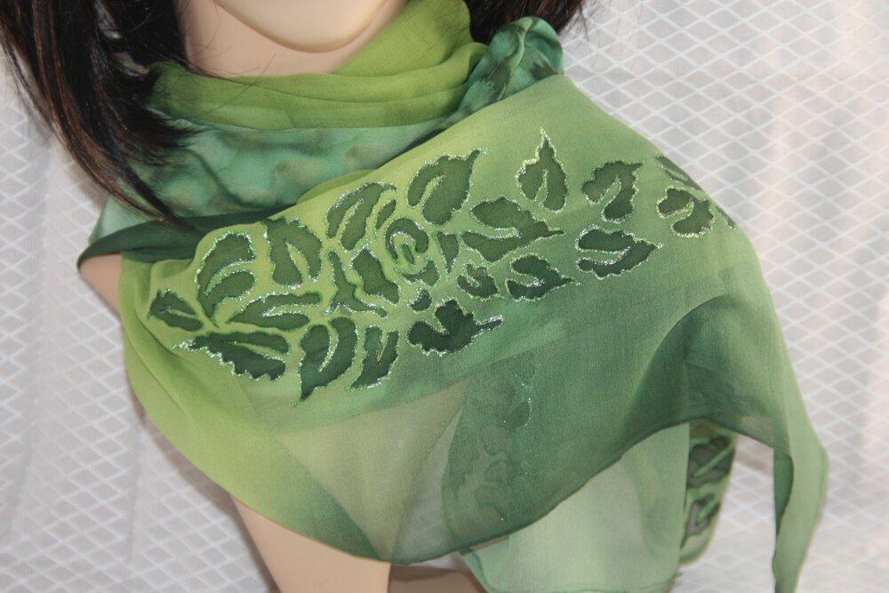 Écharpe élégante verte en soie naturelle