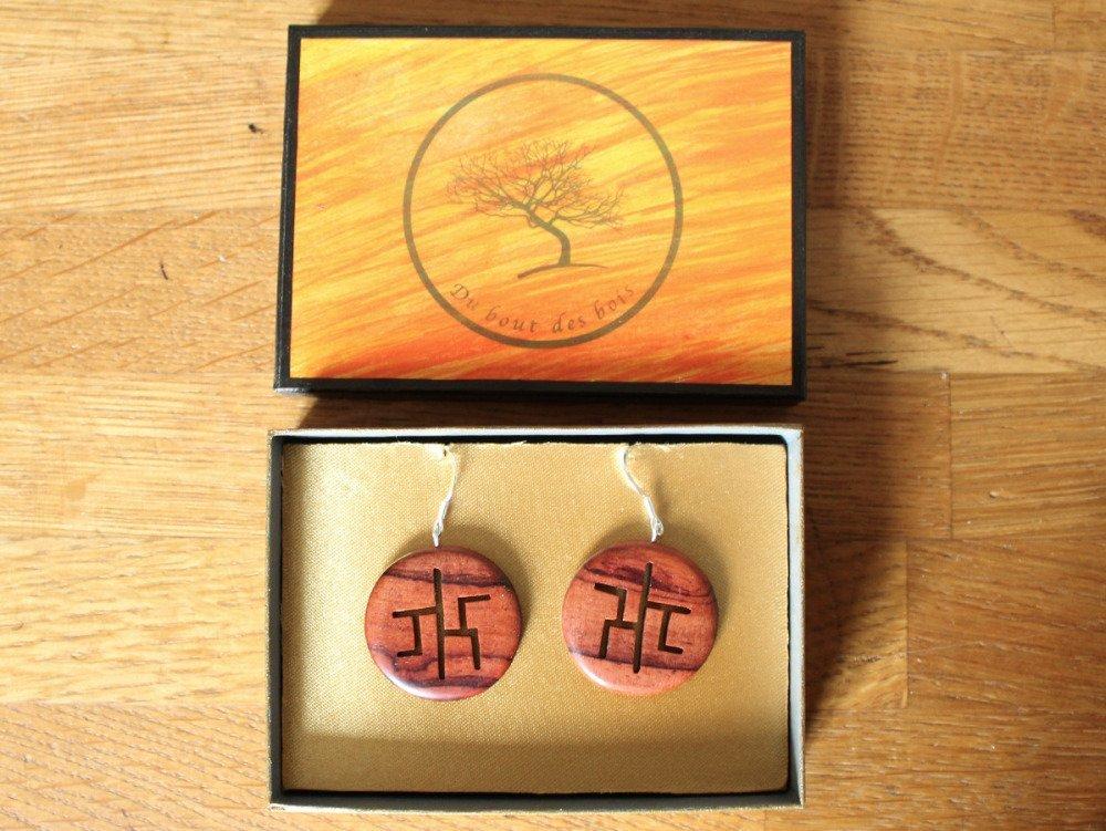 """Boucles d'oreilles """"chinoiseries"""" - bijoux en bois - argent 925"""