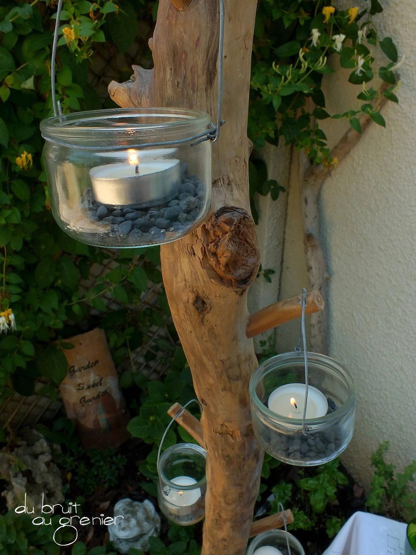 Photophore en bois flotté sur socle en béton