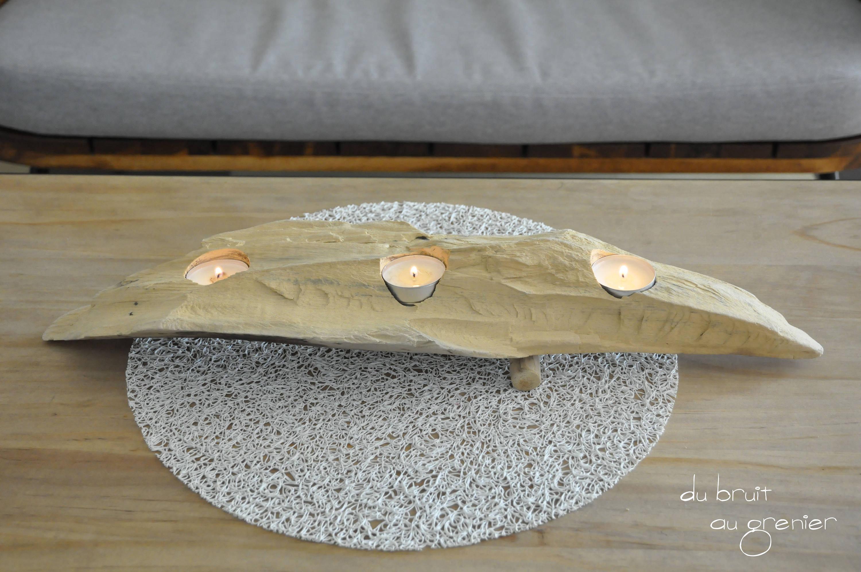 Bougeoir en pièce de bois flotté
