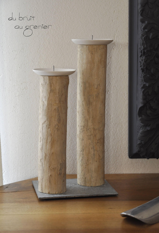 Bougeoirs bois flotté et métal