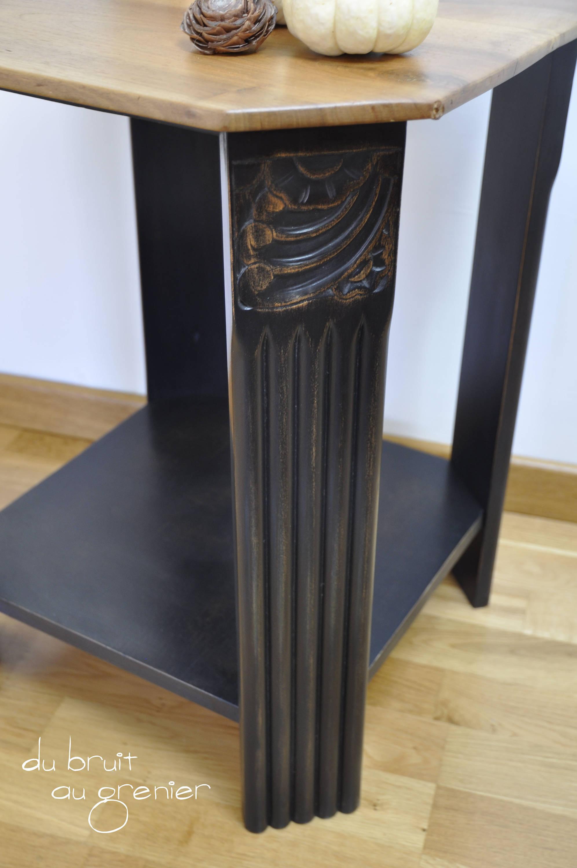 Guéridon art déco noir et bois