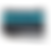 Trousse à crayons en simili cuir noir et ruban sequin bleu