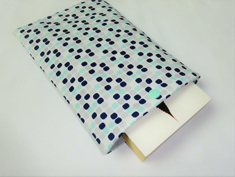 Housse pour livre de poche AVEC bouton pression - Pochette / Poche pour livre - Housse de protection - Gris menthe