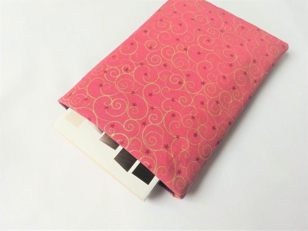 Housse pour livre de poche AVEC 1 bouton pression- Pochette / Poche pour livre - Housse de protection - Rose et or