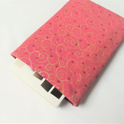 Housse pour livre de poche sans bouton pression - pochette / poche pour livre - housse de protection - rose et doré
