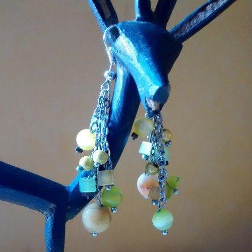 Boucles d'oreille vert et jaune