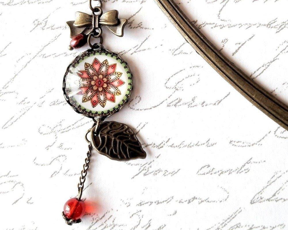 Marque-page forme plume, bijou de livre, cabochon floral