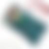 Etui à lunettes bleu pétrole, motif colibri