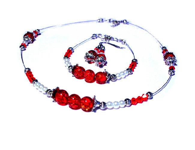 Parure perles rouges et  blanches , collier, bracelet , boucles d'oreilles