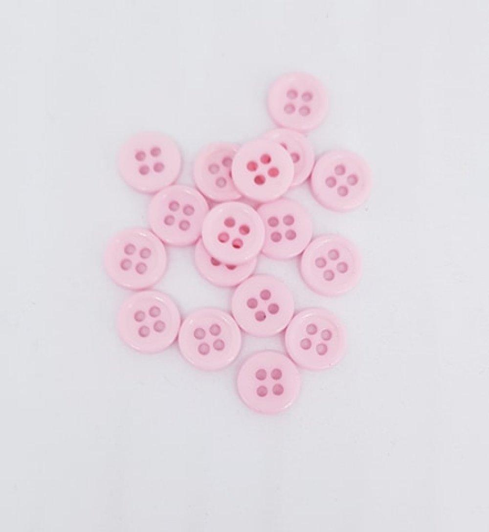 10 boutons en resine rose 9 mm