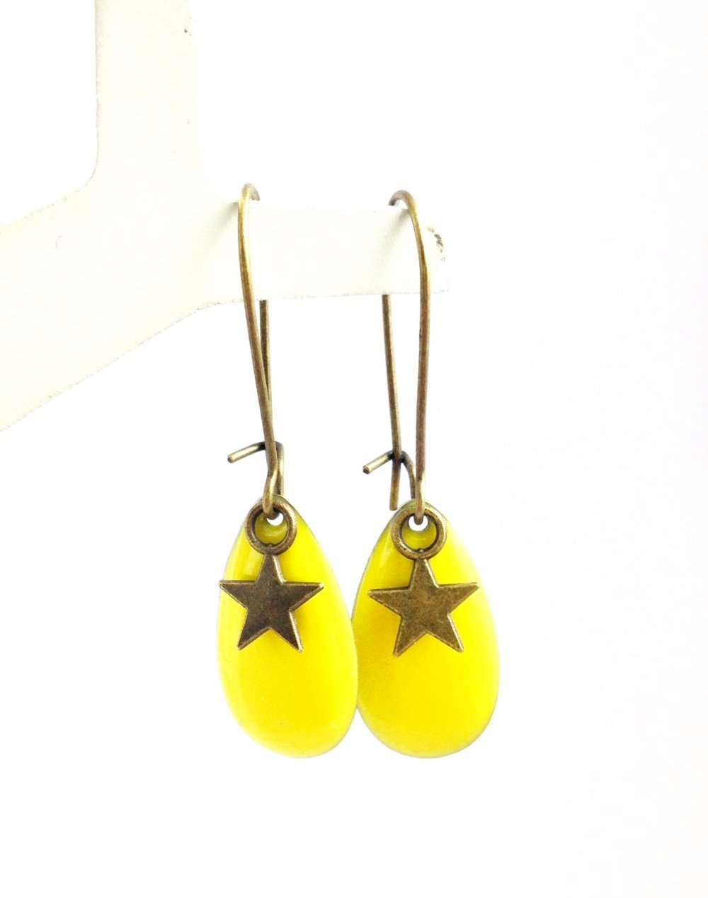 Boucles d'oreilles bronze Cabochon goutte jaune Etoile bronze