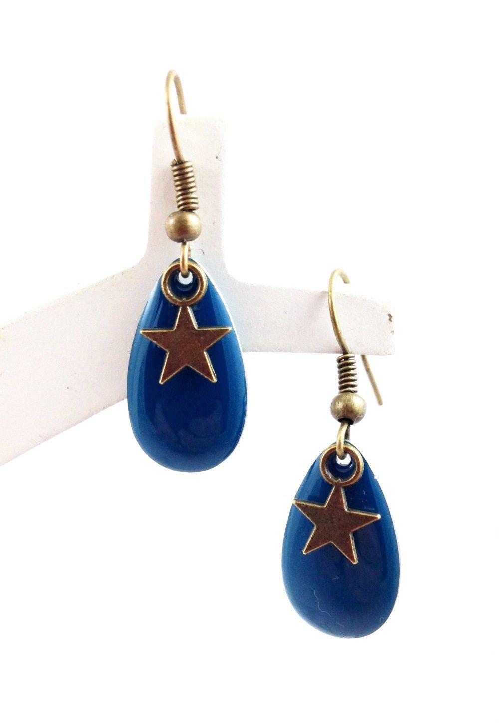 Boucles d'oreilles bronze Cabochon  goutte bleue Etoile bronze